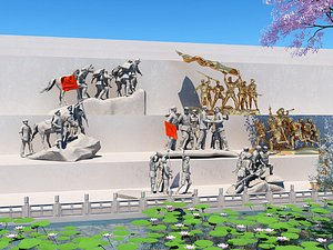 3D model Sculpture, public art red sculpture revolution sculpture assembly number red army sculpture