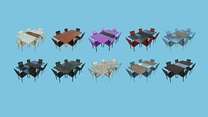 3D 10 Dinning Table Collection - Furniture Interior Design