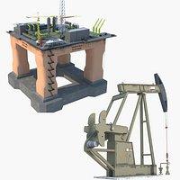 Oil Rig Platform and Oil Pump