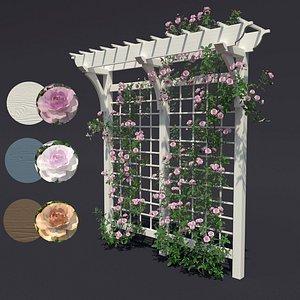 3D pergola arbor flowers model