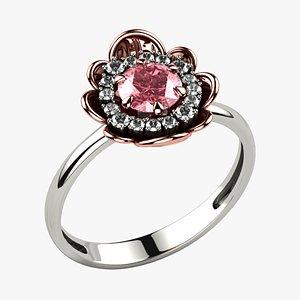 5mm Sapphire Gemstone Flower Gold Ring model
