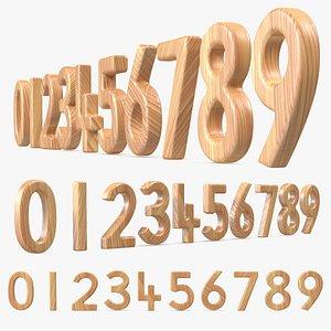 3D Wooden Numbers Set model