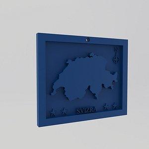3D Switzerland-Svizra Map Print