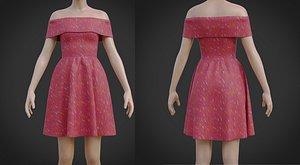 3D Red Off shoulder Print Dress model
