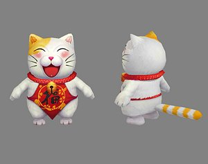 3D Cartoon Lucky cat - White cat