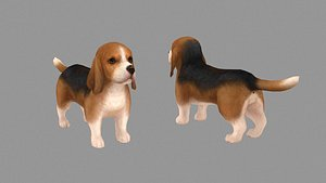 Cartoon pet puppy - Basset - baby dog 3D model