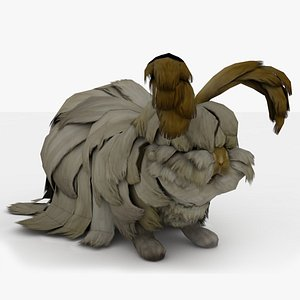 3D model Angora Rabbit Rigged animated