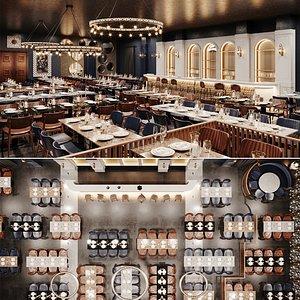 restaurant bar night 3D model