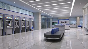 3D model Bank lobby 4