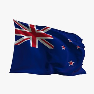 3D model Realistic Animated Flag - Microtexture Rigged - Put your own texture - Def New Zeland