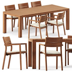 3D KOS armchair and Kos Teak Table model