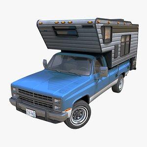 80s American camper truck PBR 3D model