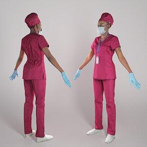 human young woman uniform 3D model