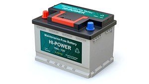 Cross section of car battery with abstract label animation