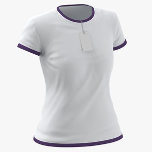 3D Female Crew Neck Worn With Tag White and Purple 01 model