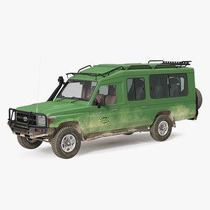 3D Toyota Land Cruiser Safari Green Dirty Rigged model