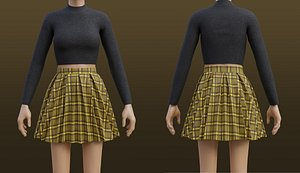 3D Plaid Pleated Mini skirt and turtleneck sweater outfit model