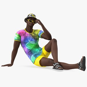 Dark Skin Teenager Beach Style Sitting Pose 3D model