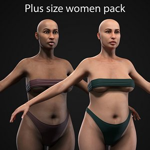3D Plus size women pack model