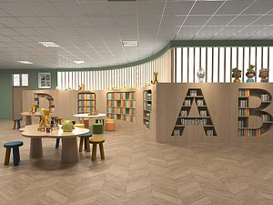Kindergarten Kindergarten classroom Early Education center Nursery school Library Multimedia room Ac model