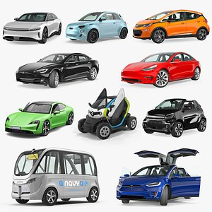 3D Rigged Electric Cars Collection 4