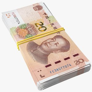 3D Stack of Chinese 20 Yuan 2019 Bills with Rubber Band