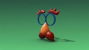 low-poly nose glasses 3D model