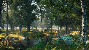 3D C4D Octane render Forest early morning tropical rainforest River elk scene