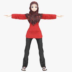 hijab anime 3D model