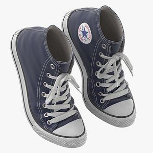 Basketball Leather Shoes Bent Dark Blue 3D