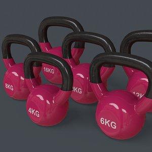 PBR 4-16KG Kettlebell V1 - Pink 3D