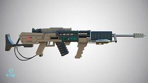 3D Laser rifle EM-1 Railgun Low-poly model