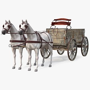 Pair Of White Horses with Wagon 3D model