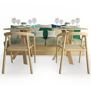 3D Wooden Sofa And Chairs Set AtelierS model