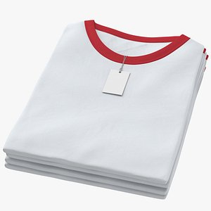 Female Crew Neck Folded Stacked With Tag White and Red 01 3D model