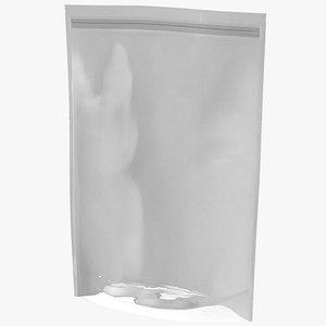 Zipper White Paper Bag with Transparent Front 500 g Mockup model