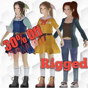 3D Aliya Beautiful realistic Girl character Low-poly model