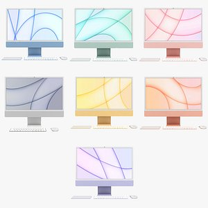 3D Apple iMac 24 inch 2021 All Colors model