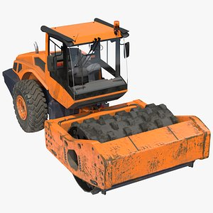 3D Single Drum Compactor Vehicle Dirty