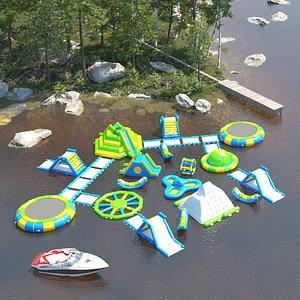 Aqua inflatable Trampoline 3D