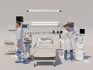 Hospital operating room scene 3D