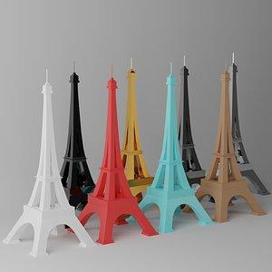 3D paris eiffel tower landmark