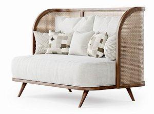 3D two-seater garden sofa model