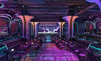 Dynamic disco bar, disco entertainment place, electric sound stage, science fiction, disco trend, di