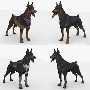 3D 4 in 1 dog Rigged and Animated