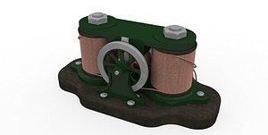 3D model Vintage bipolar electric motor