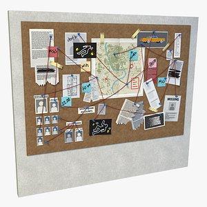 crime board Low-poly 3D model 3D