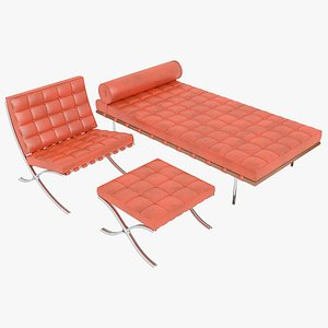 Knoll Orange Leather Barcelona Chair Couch and Stool Ottoman Set 3D