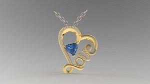 3D heart love pendant