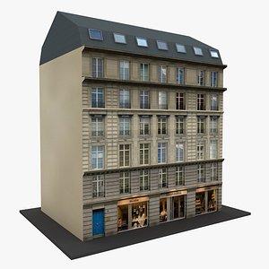 Typical Parisian Corner Building 02 3D